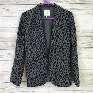 Joie blazer jacket open 2 animal print linen gray
